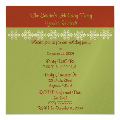 Simple Christmas Party Invitations Red and Green Simple Christmas Party Invitaiton