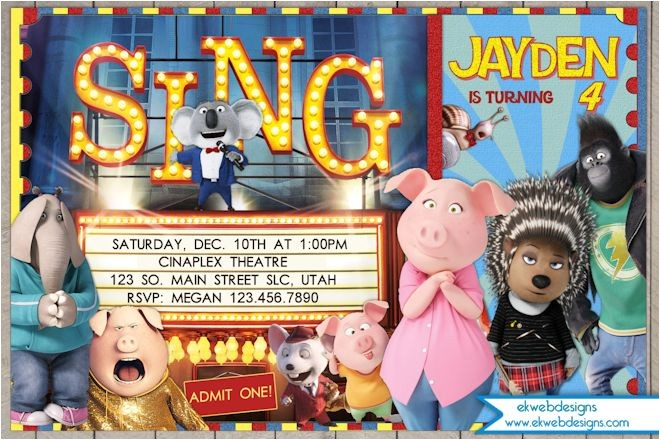 sing movie birthday invitation illumination sing movie ticket birthday invitations with or without a p