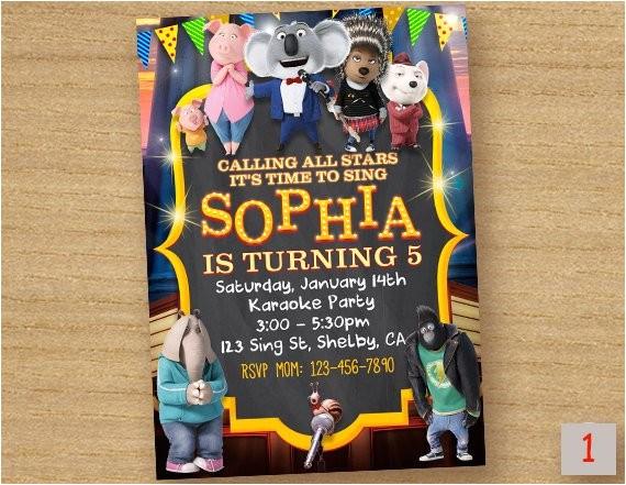 sing movie invitation birthday sing the