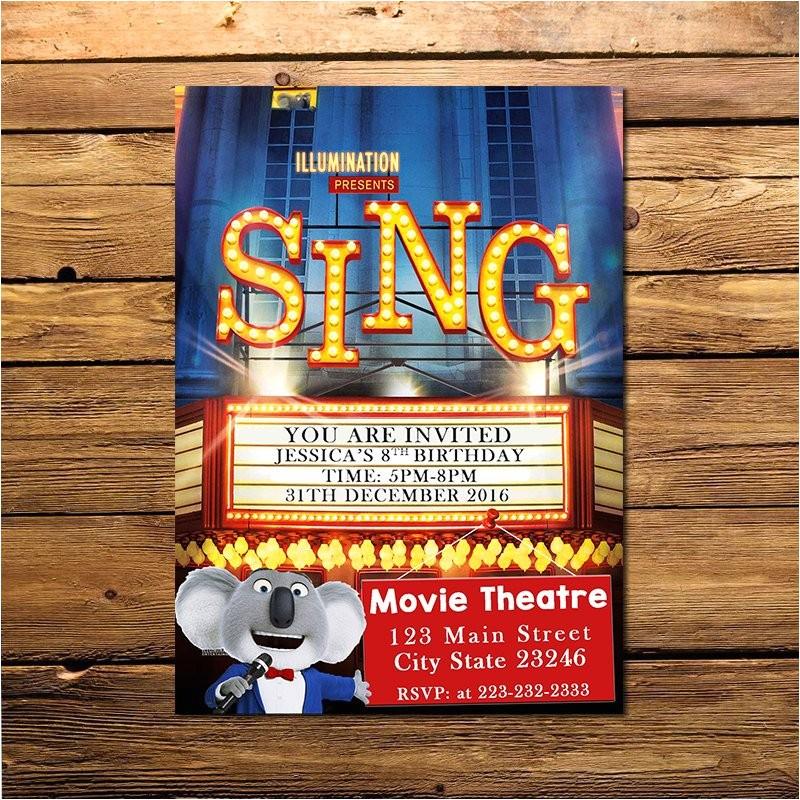 sing movie invitation sing invitation