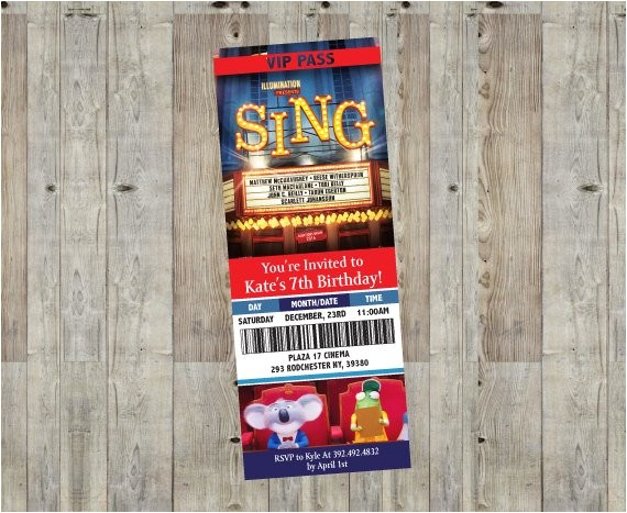 sing movie themed birthday party