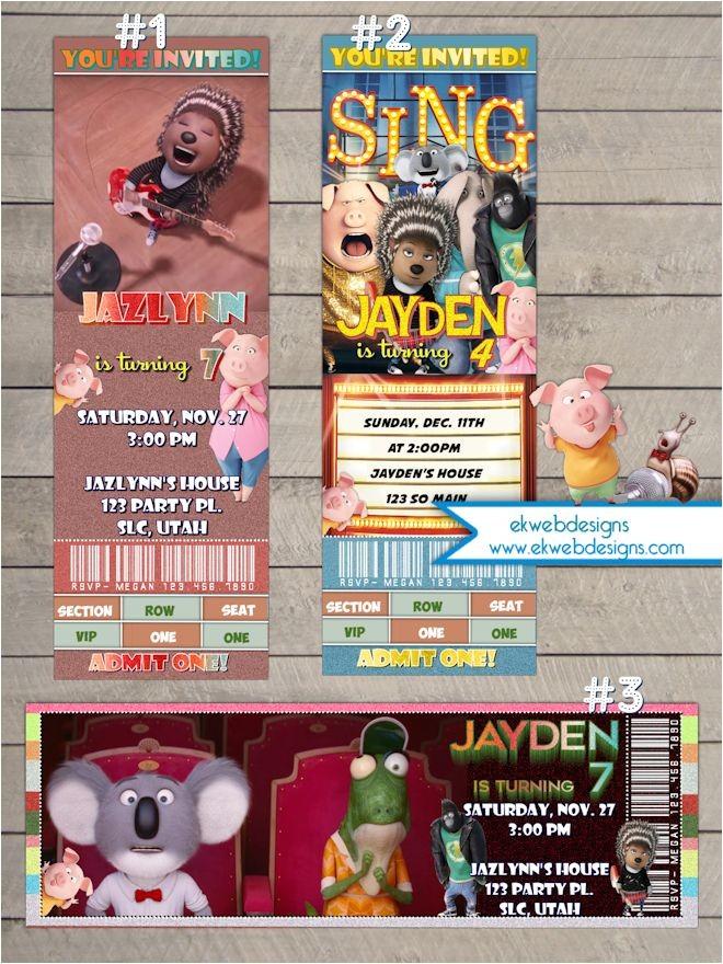 sing movie ticket birtday invitations illumination sing movie ticket style invitations