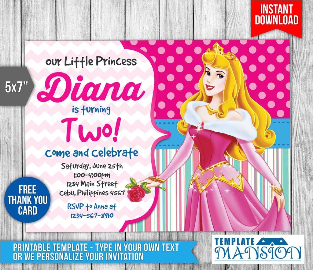 sleeping beauty invitation disney princess invite 619024484