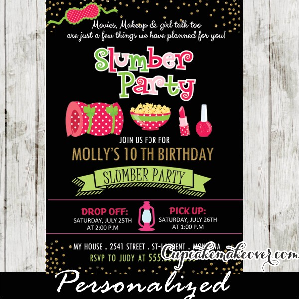 slumber party invitations pink green girls sleepover birthday ideas