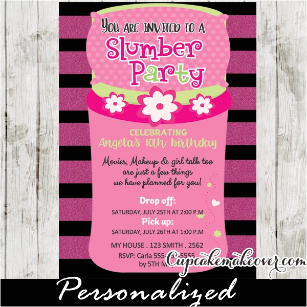 slumber party invitations pink sleeping bag