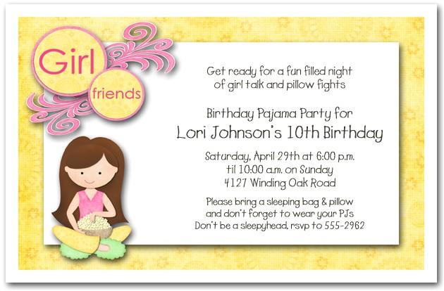 Slumber Party Invitation Sayings Dark Hair Girl Pajama Party Sleepover Invitations Girls