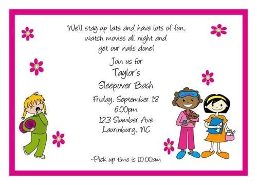 sleepover party invitation wording
