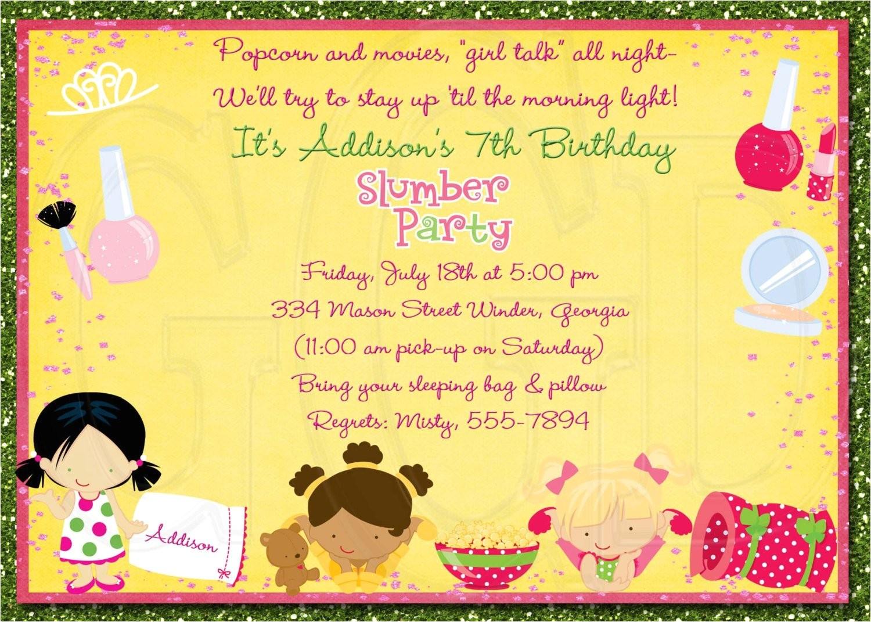 slumber party invitation pajama party