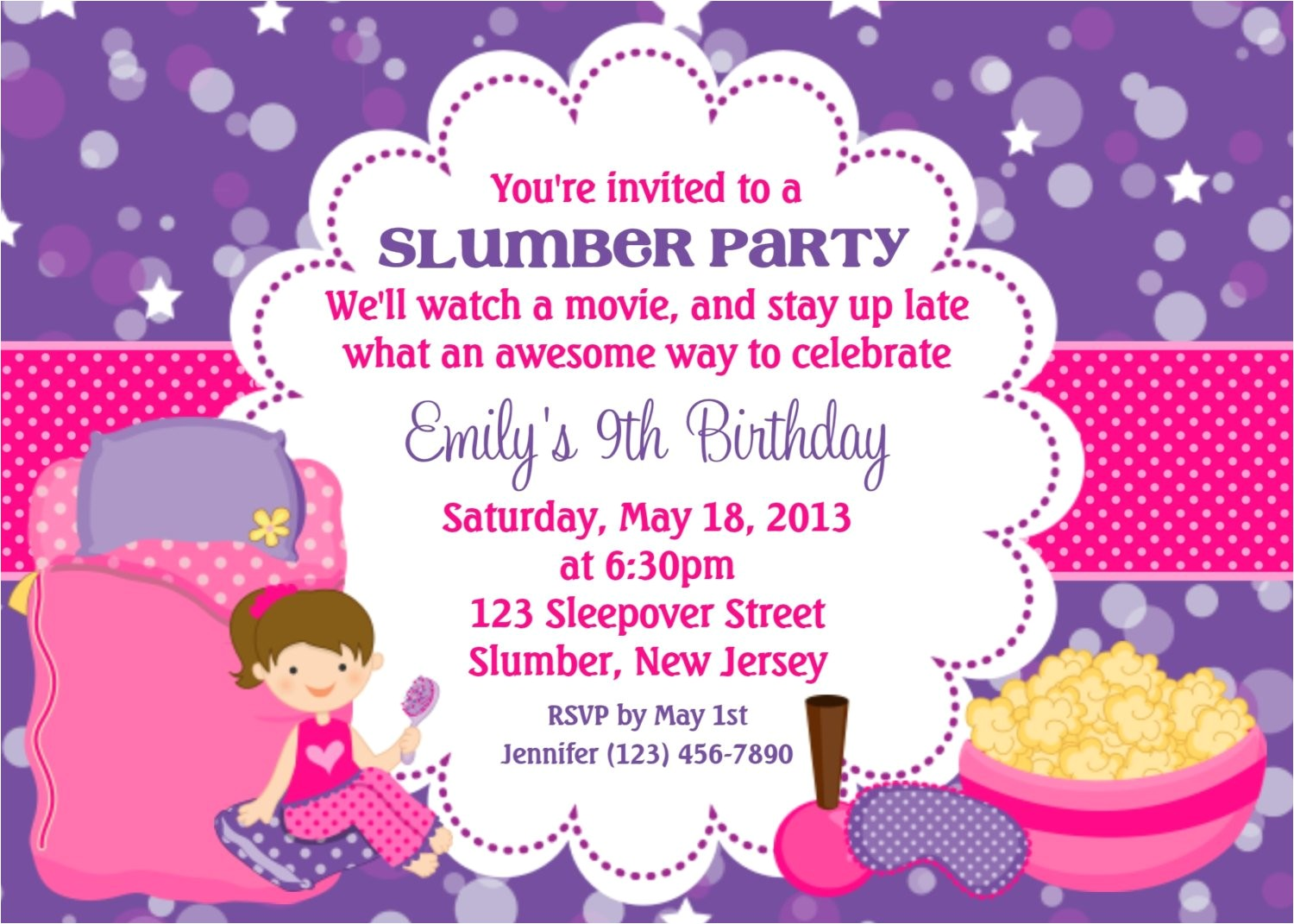 slumber party invitation personalized