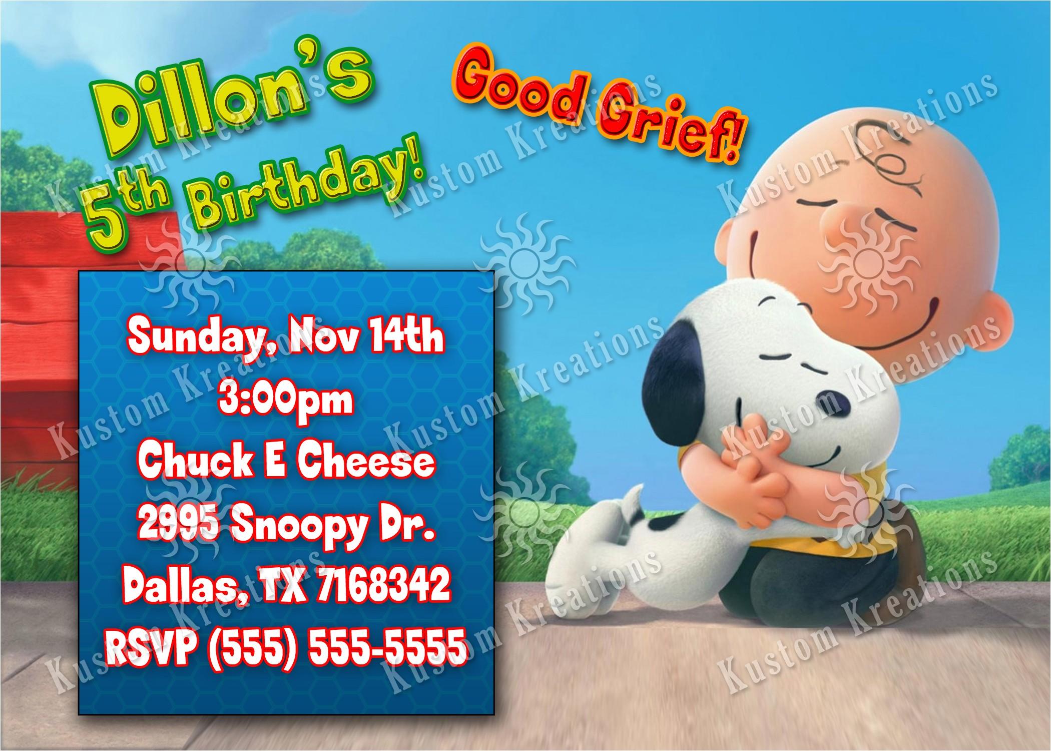 peanuts snoopy birthday invitations