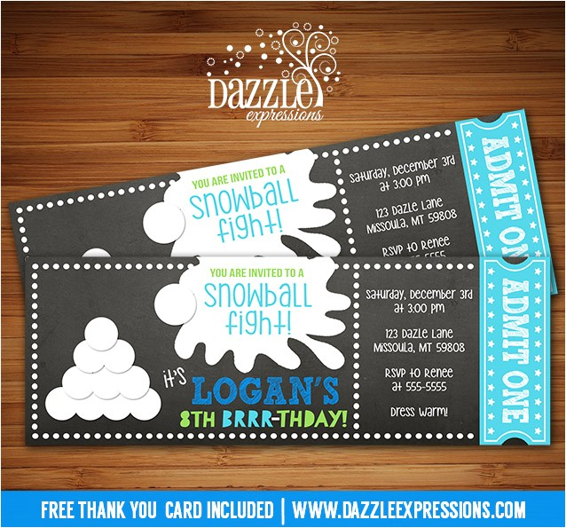 snowball chalkboard ticket invitation free thank you card included