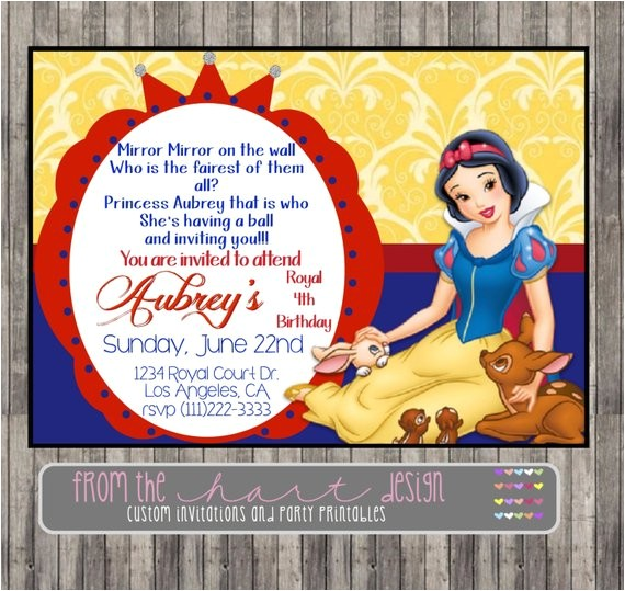 snow white invitation for birthday party