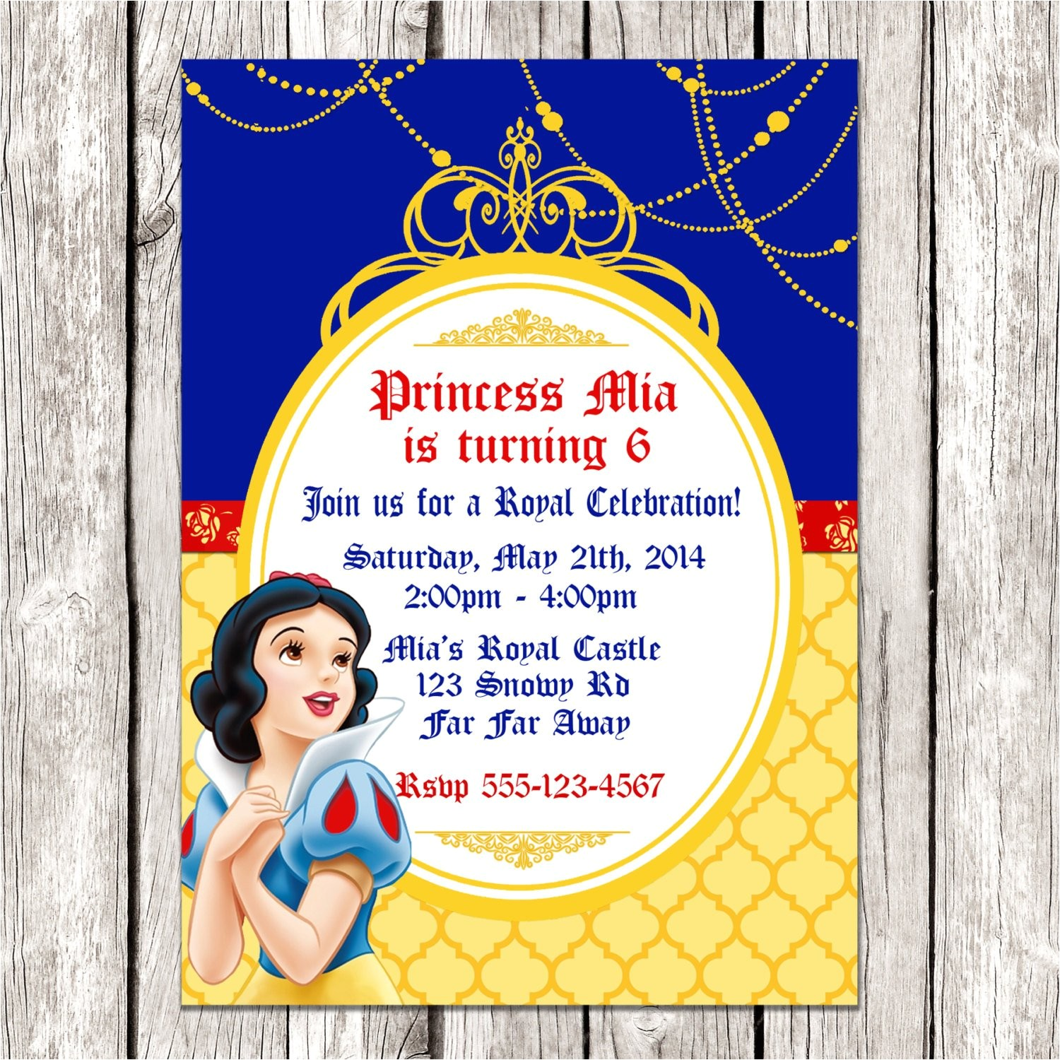 snow white invitation snow white
