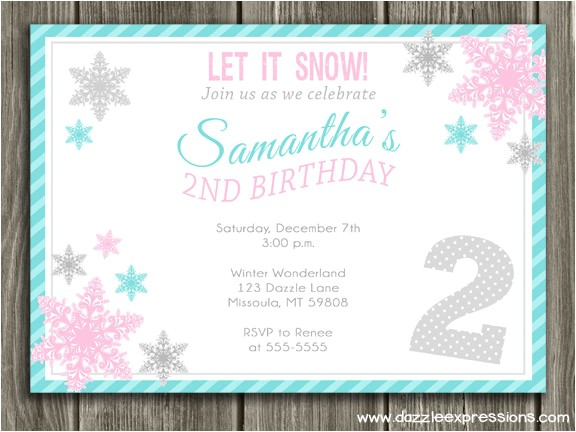 Snowflake Birthday Party Invitations Birthday Invites Great 10 Snowflake Birthday Invitations