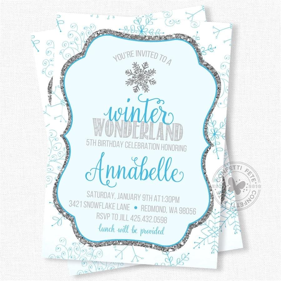 snowflake birthday invitation winter