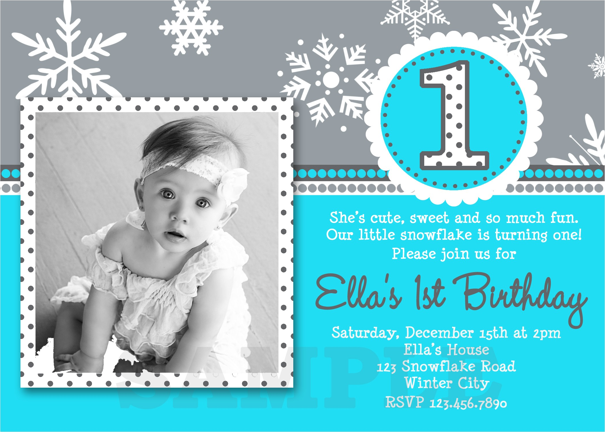 girls snowflake turqouise winter birthday photo invitation