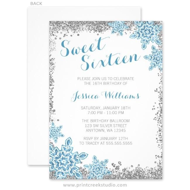 sweet 16 glam winter wonderland silver blue invitations
