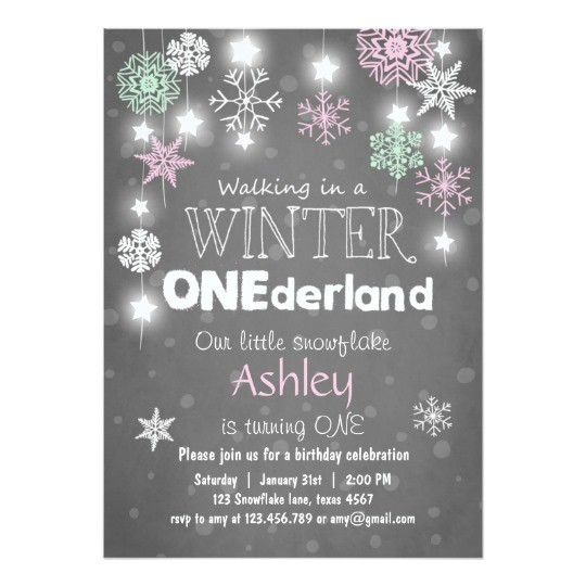 winter onederland birthday party invite mint pink 256116843049995243