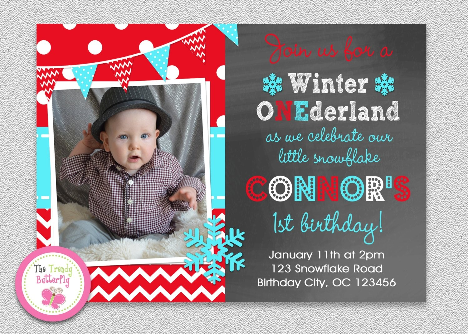 snowflake wonderland invitation winter