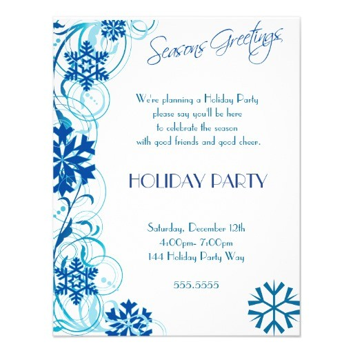 blue snowflake holiday party invitations 161130758010621006