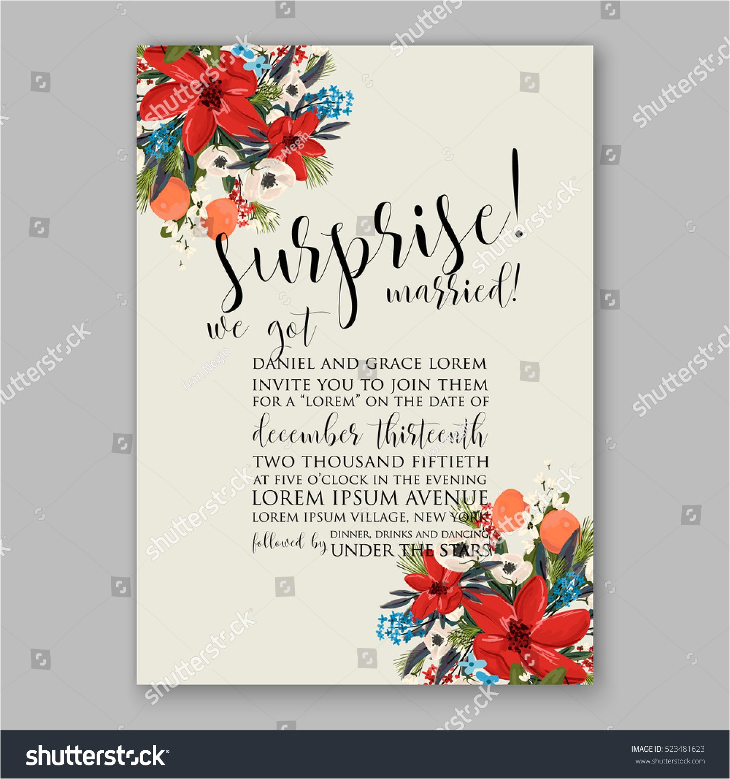 poinsettia winter wedding invitation template card 523481623