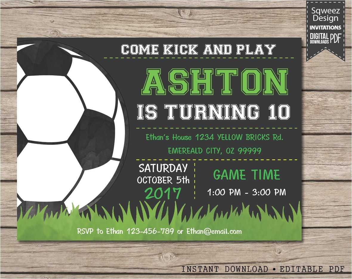 soccer invitation soccer birthday