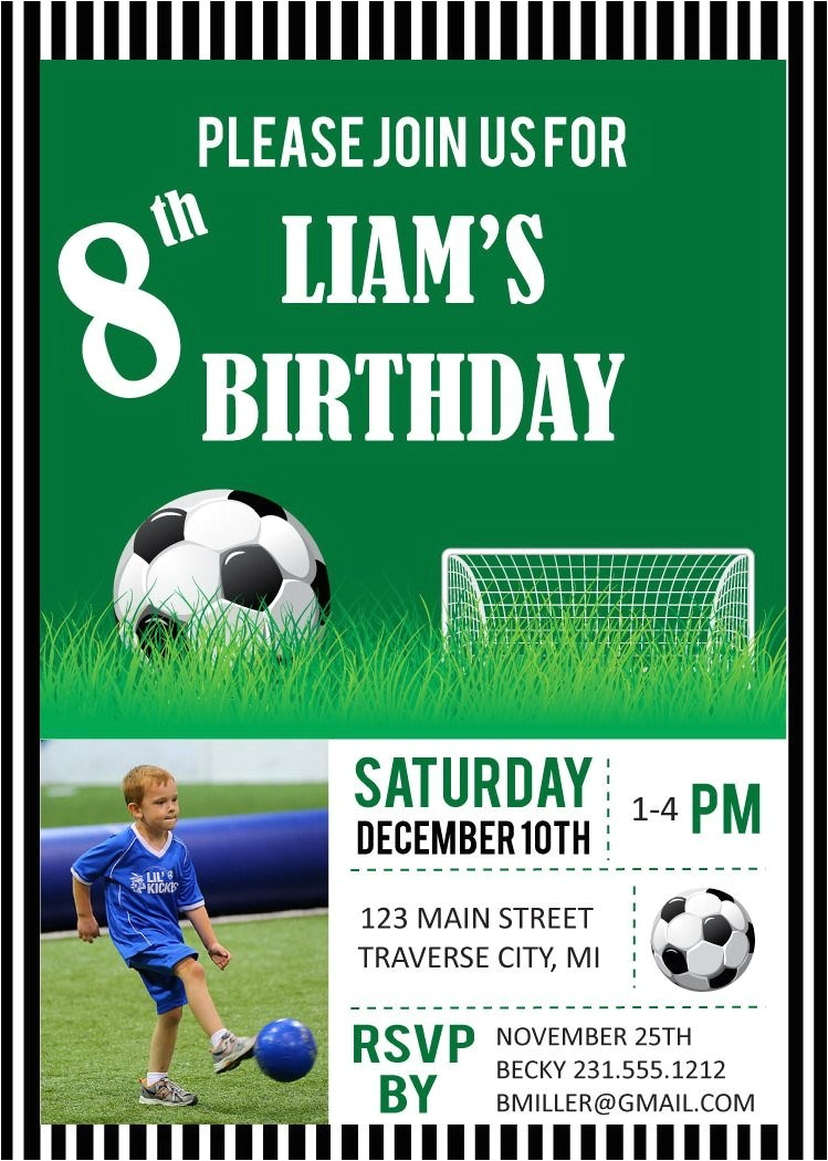 soccer photo birthday party invitations