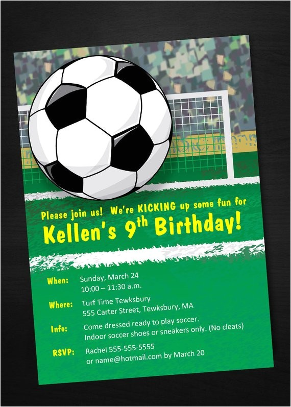 instant download soccer birthday invitation printable