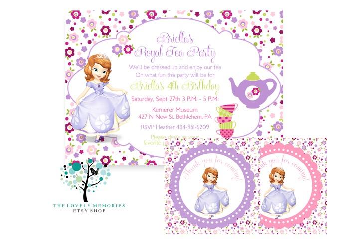 copy of sofia the first princess birthday tea party theme invitation set printable file