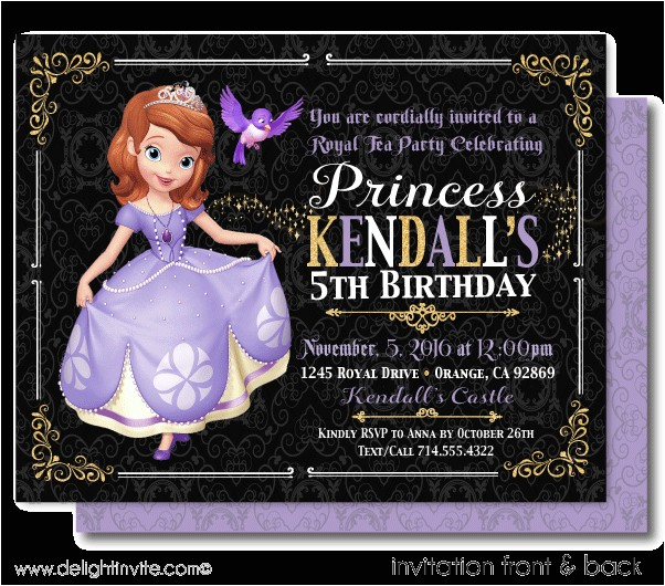 sofia the first tea party birthday invitations p 5009