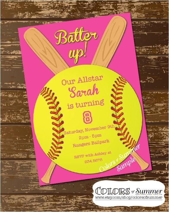 softball invitation birthday invitation