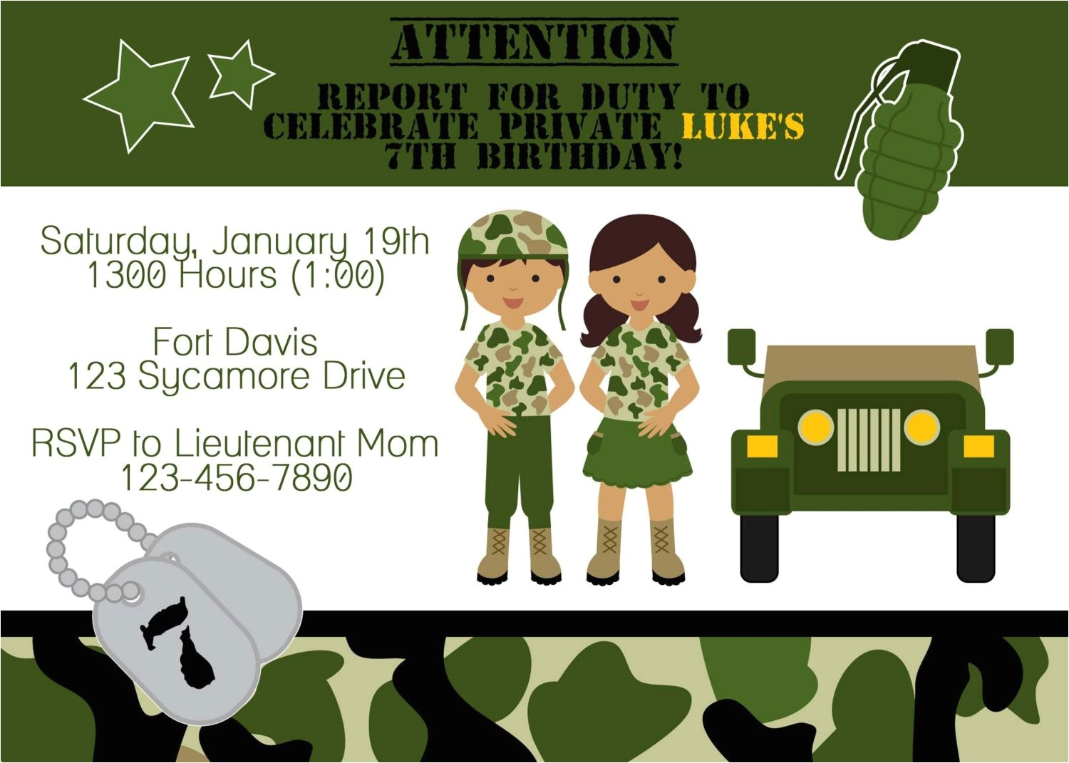 army soldier birthday party invitation