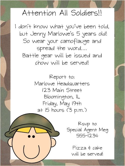 armymilitary soldier boy birthday party invitations