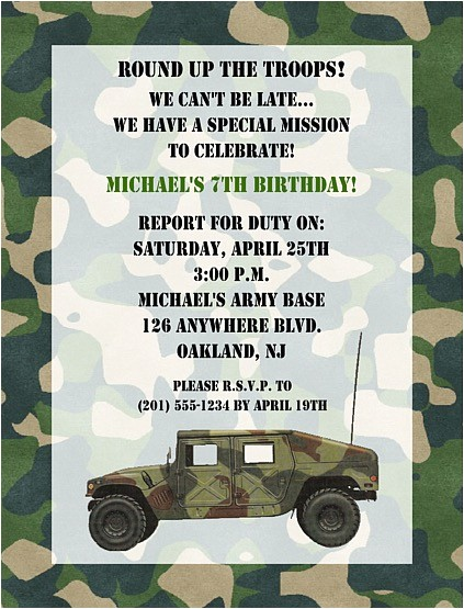 camouflage military army birthday party invitations