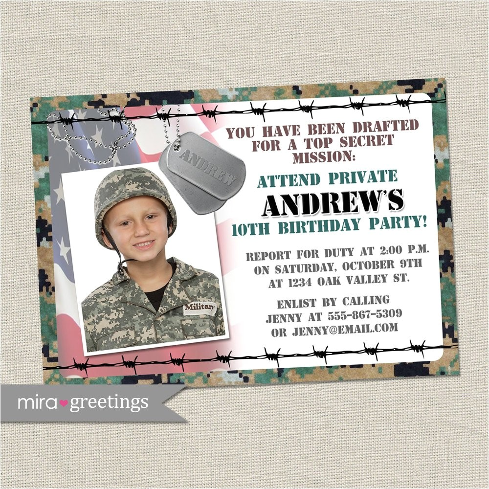 military birthday party invitation camo