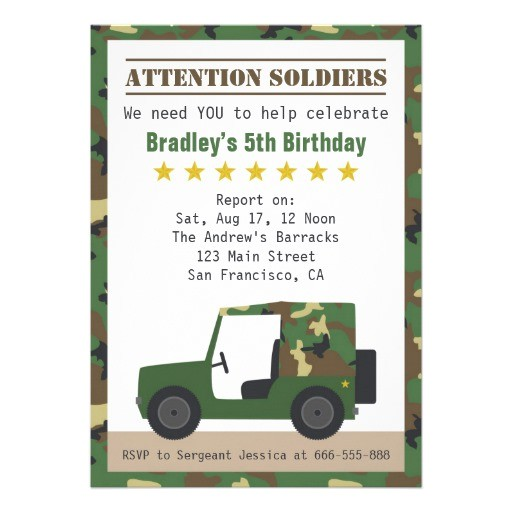 military camouflage pattern soldier boy birthday invitation 161358780502979343