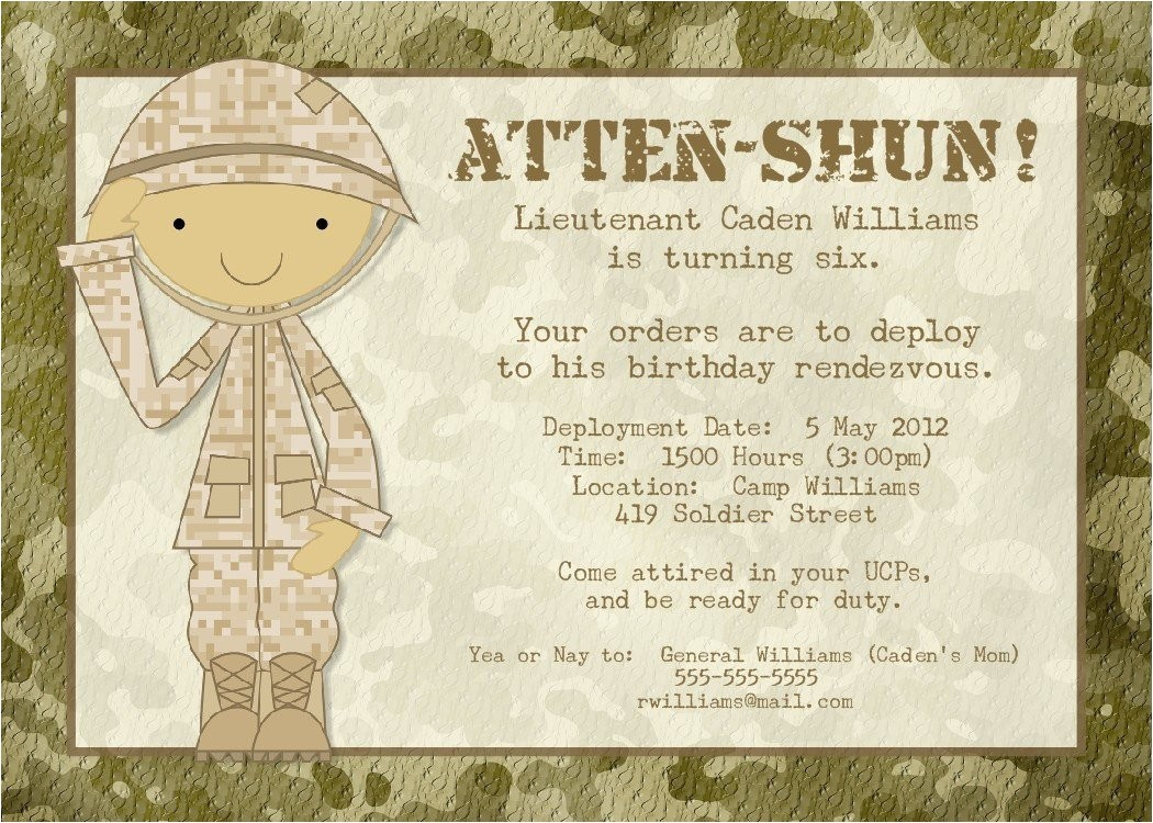 soldier birthday party invitation