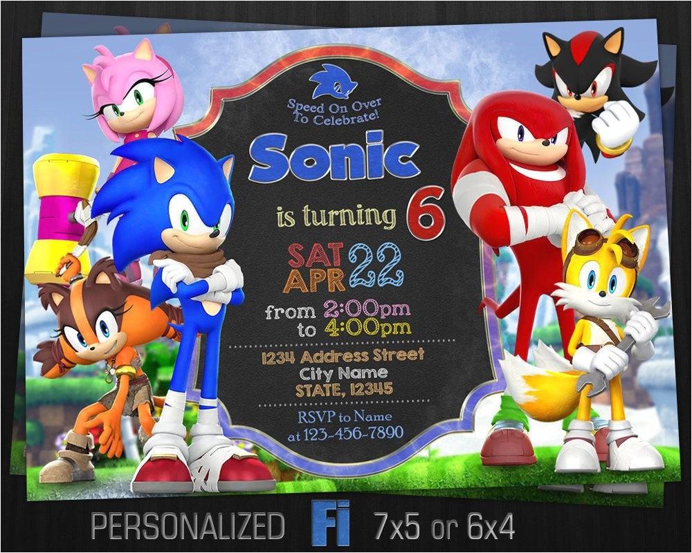 sonic invitation sonic birthday party