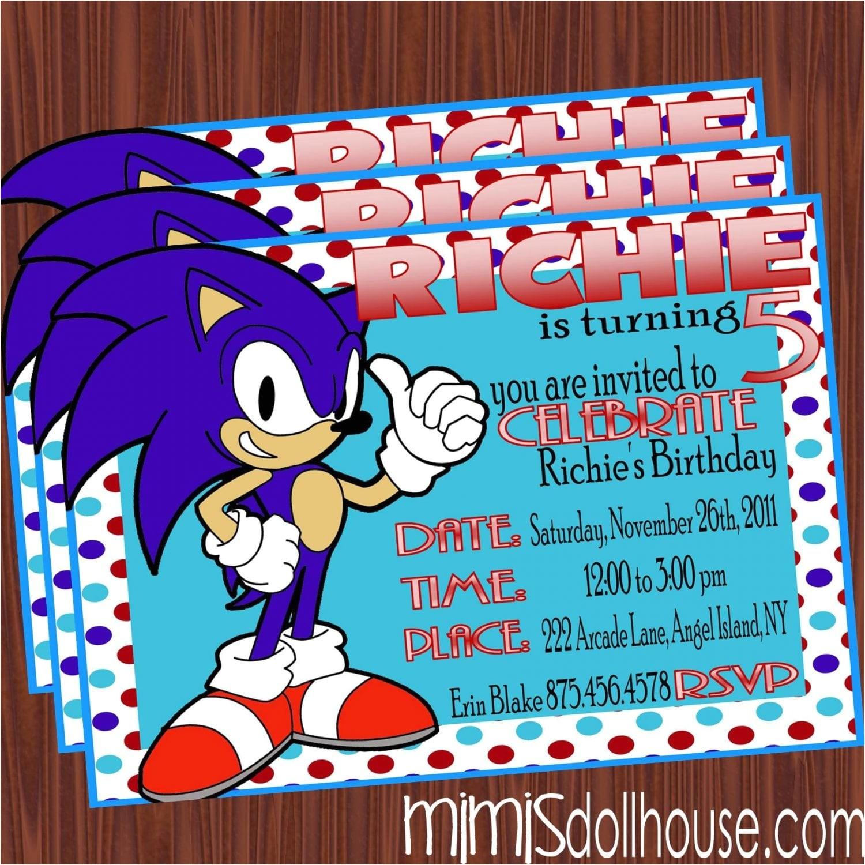 sonic the hedgehog invitation