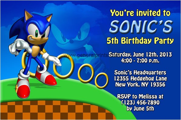 Sonic the Hedgehog Birthday Party Invitations sonic the Hedgehog Birthday Invitations Dolanpedia