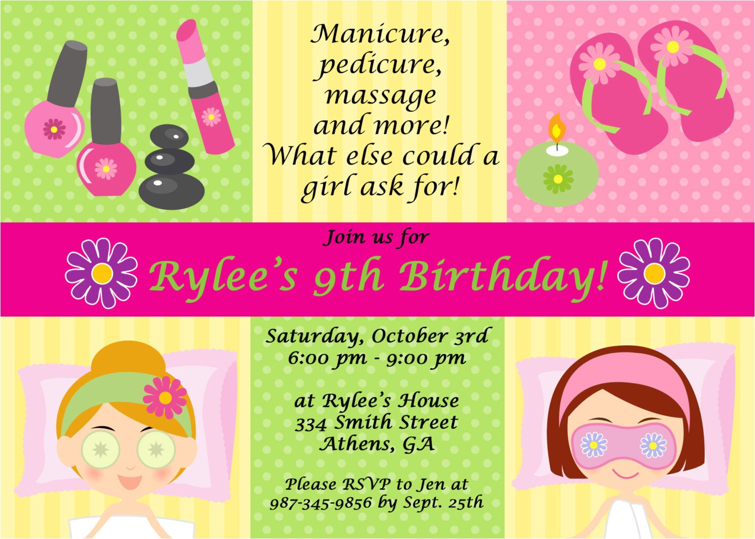 post spa party invitation printable 241526