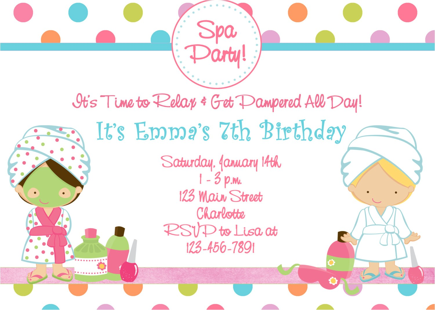 Spa Birthday Party Invitations Printables Free Free Printable Spa Birthday Party Invitations Pool