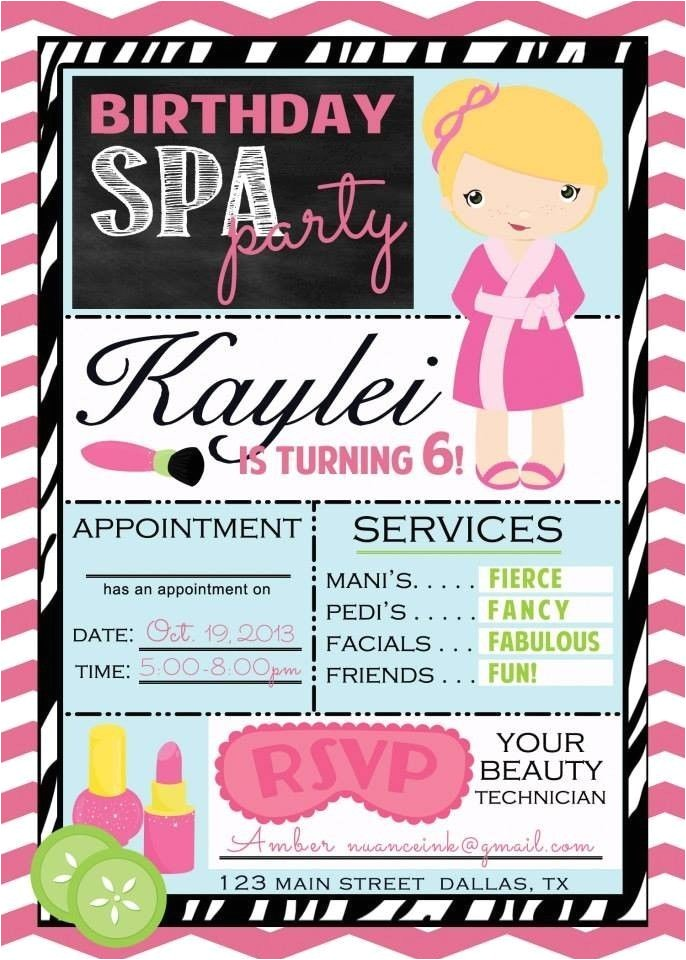 spa party invitations free printable