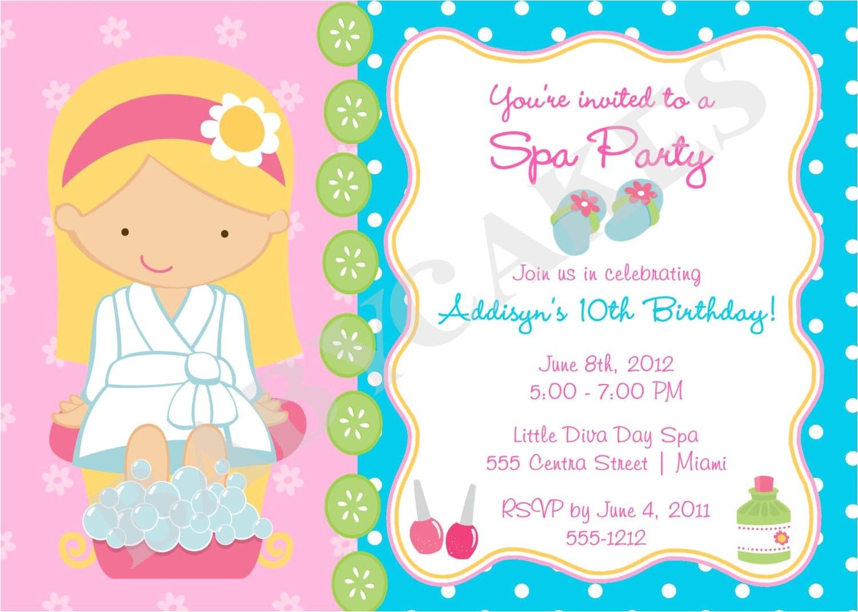girls spa birthday party invitations