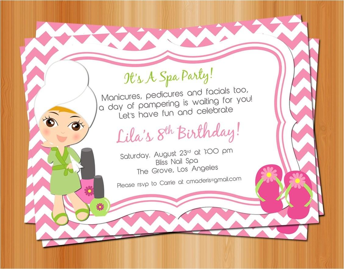 printable girl spa birthday party