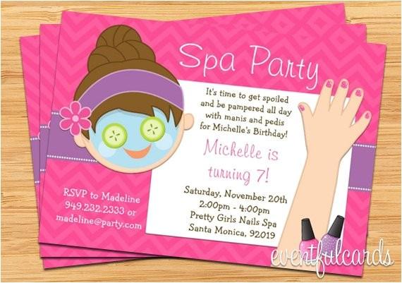 spa party kids birthday invitation mani