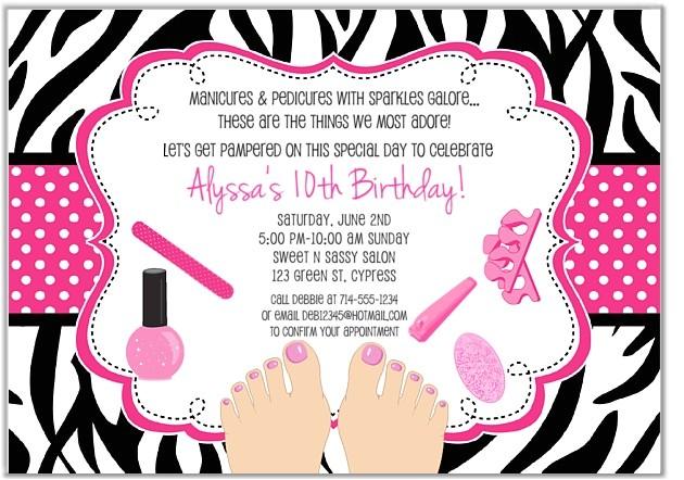 zebra pedicure spa birthday party invitations