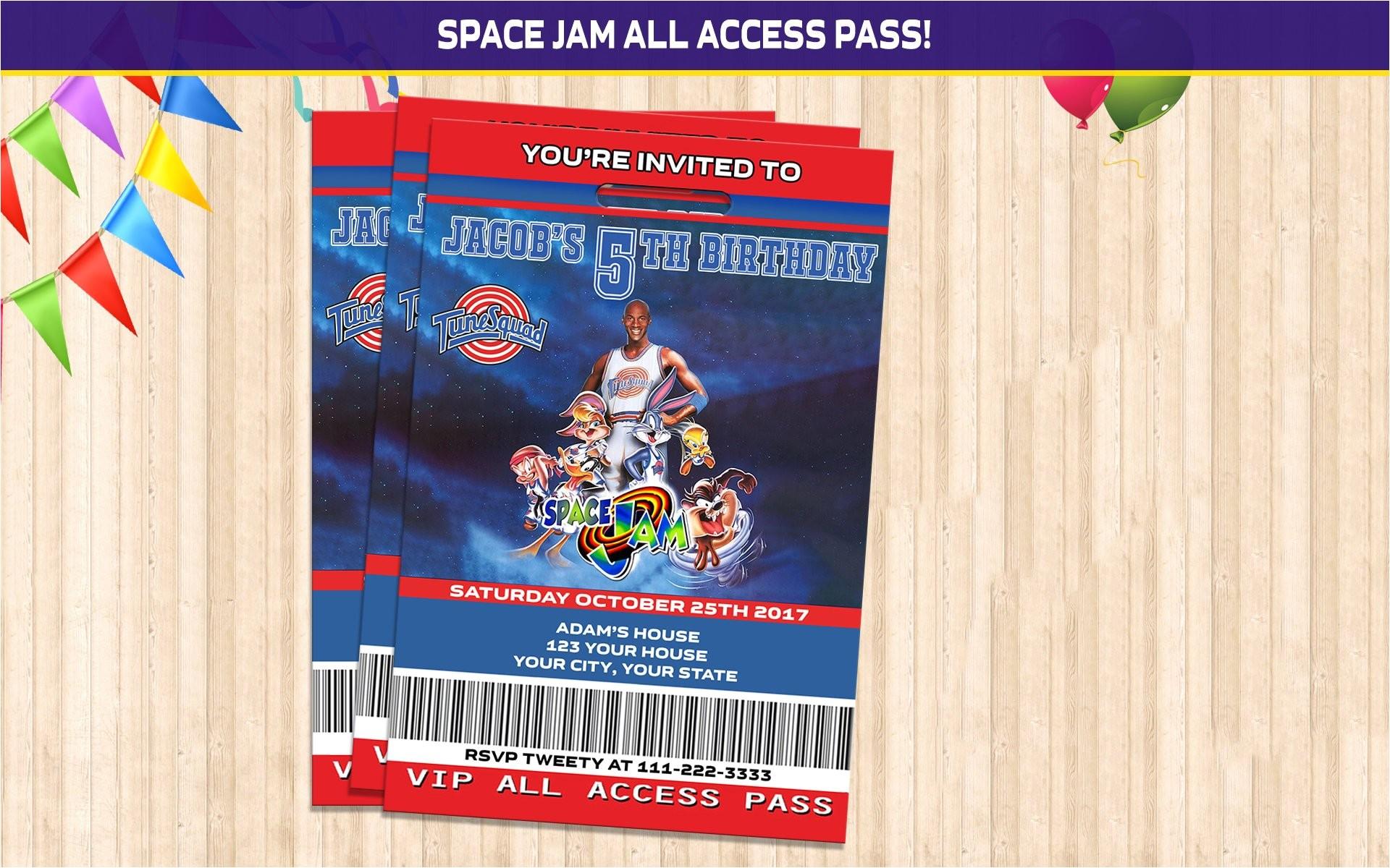 space jam vip birthday invitation space