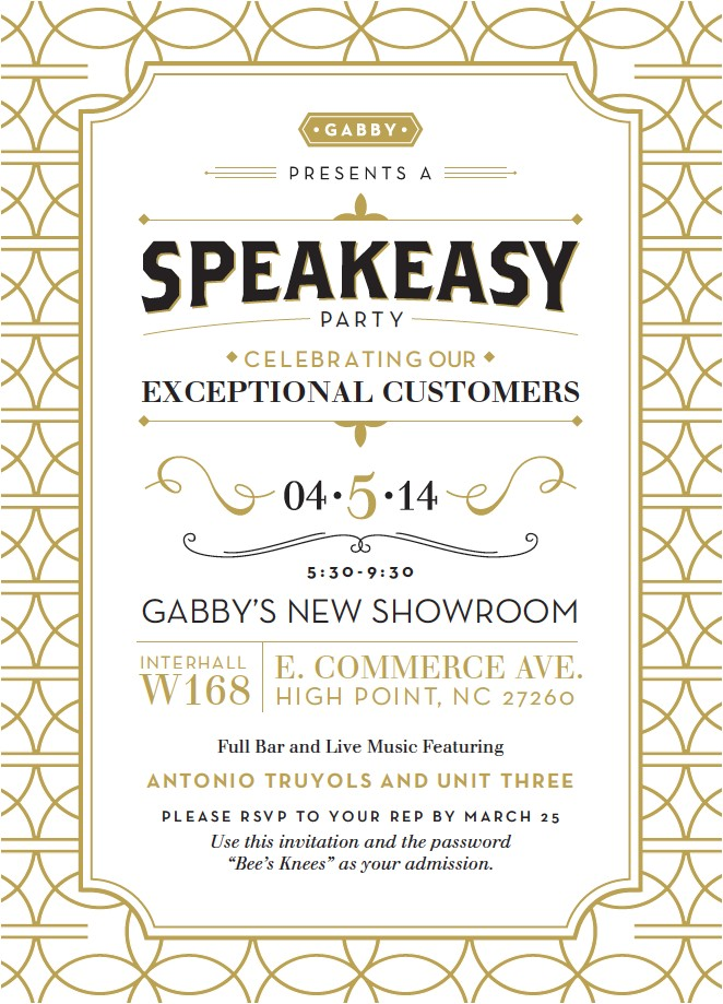 speakeasy party invitation