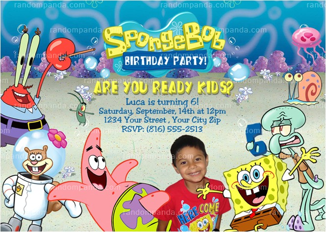 diy spongebob squarepants birthday party invitation
